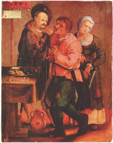 Farmer at the dentist, Johann Liss, c. 1616-17